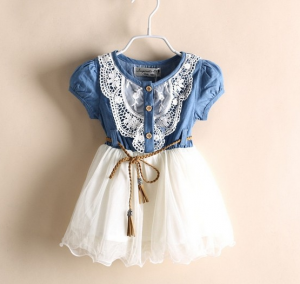 Girls Jeans Lace Dress