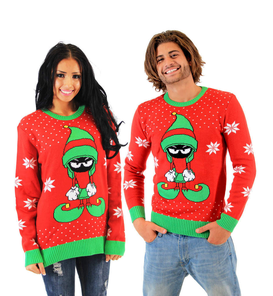 Looney Tunes Marvin The Martian Elf Dressed Adult Red Sweater
