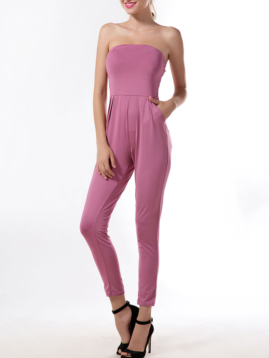 Strapless Slit Pockets Plain Slim-leg Jumpsuit