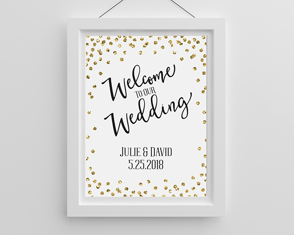Personalized Gold Glitter Wedding Poster (18×24)