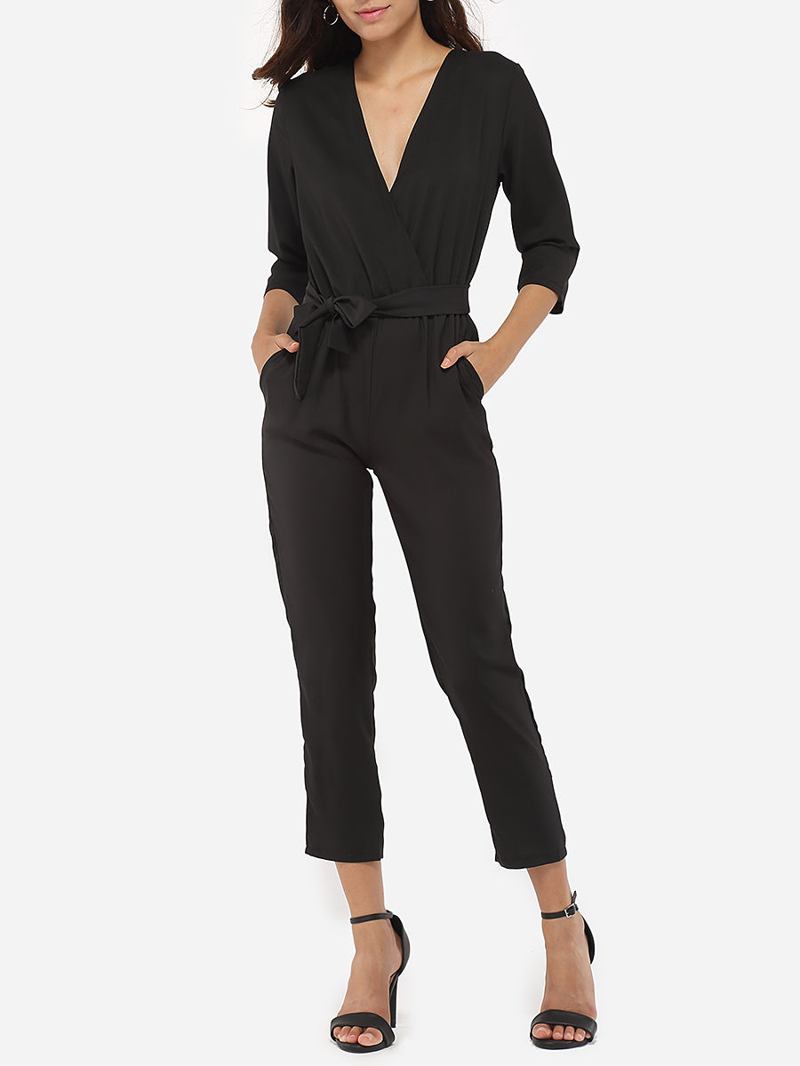 Bowknot Pockets Dacron Plain Jumpsuits