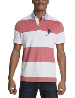 Rugby Stripe Oxford Collar Polo Shirt