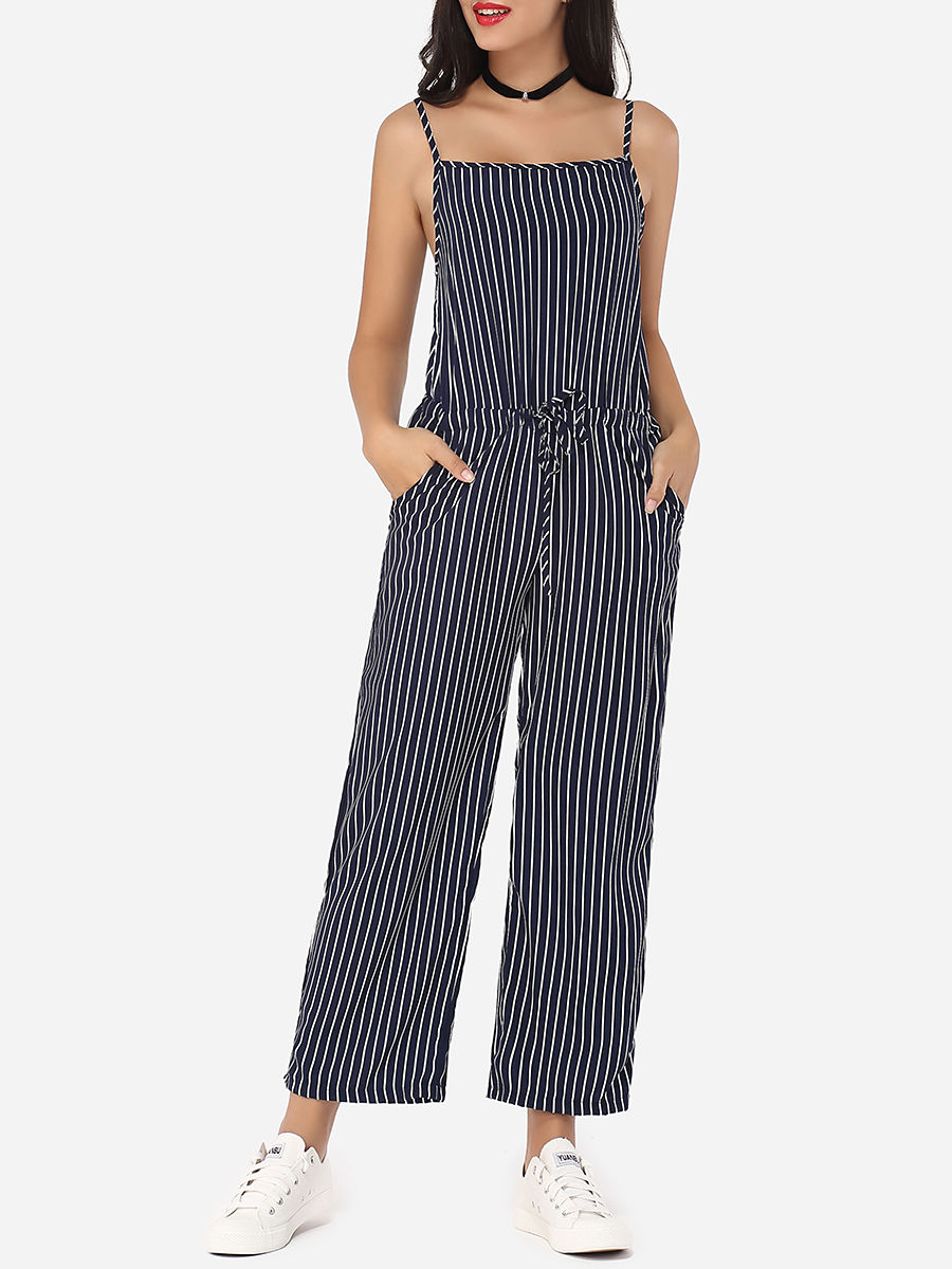 Striped Loose Fitting Glamorous Jumpsuits