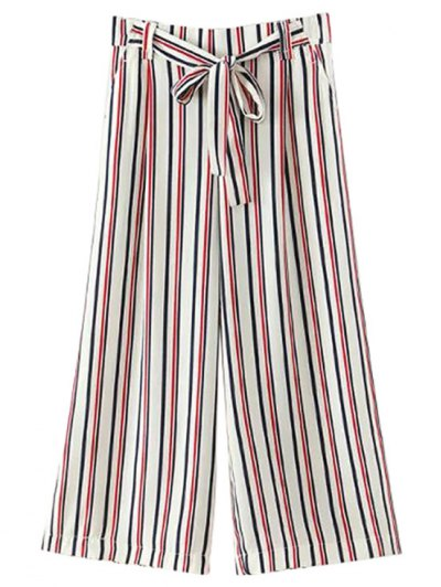Striped Self Tie Wide Leg Pants