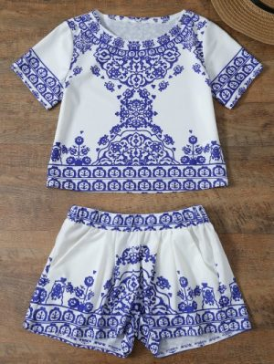 Short Sleeve Retro Floral Print T Shirt and Shorts Set