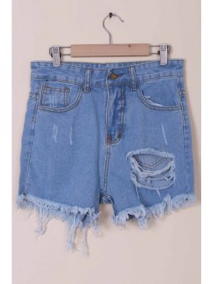 High Waist Solid Color Broken Hole Denim Shorts