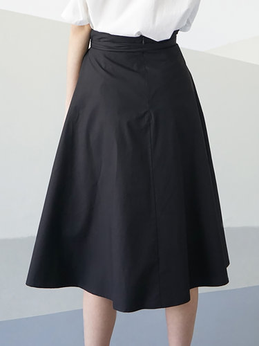Black Cotton Simple Plain Pockets Midi Skirt with Belt