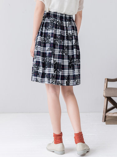 Navy Blue Casual Checkered/Plaid Midi Skirt