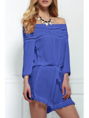Off The Shoulder Drawstring Design Women s Romper