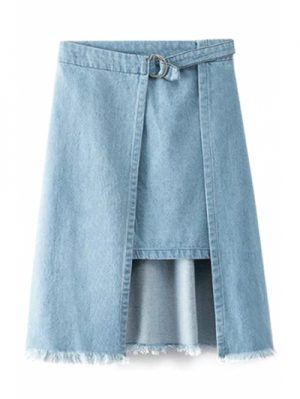 High Waisted Irregular Hem Frayed Denim Skirt
