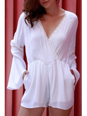 Plunging Neck Long Flare Sleeve White Romper