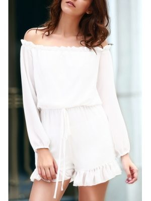 Off The Shoulder Long Sleeve Solid Color Romper
