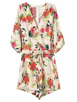 V Neck 3 4 Sleeve Casual Flower Print Playsuit