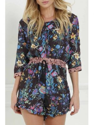Scoop Neck 3 4 Sleeve Full Floral Romper