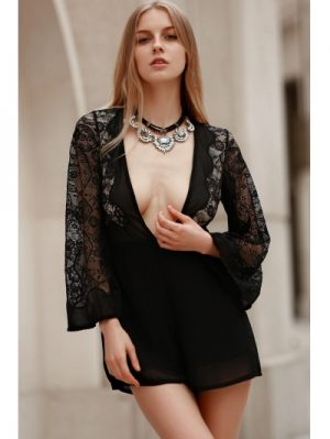 Plunging Neck Sheer Sleeve Combined Lace Romper