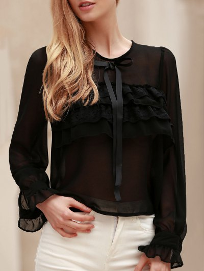 Bowknot Embellished See Through Blouse