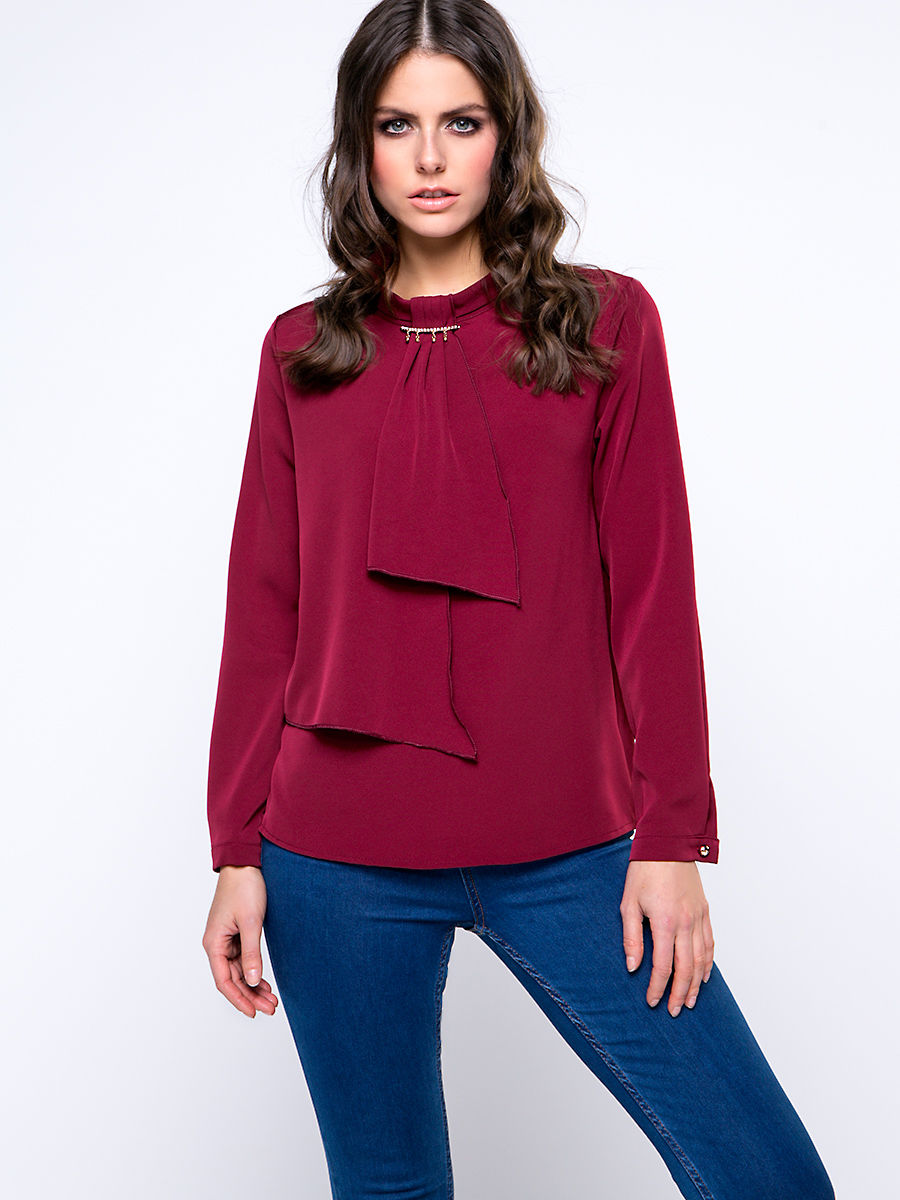 Band Collar Trendy Office Plain Blouse