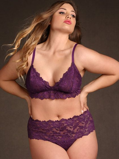 Savoir Faire Lace Cheeky Thong 4X, Plum
