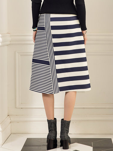 Blue A-line Casual Printed Stripes Midi Skirt