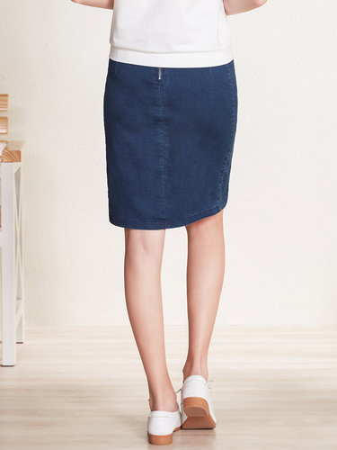 Dark Blue Denim Sheath Slit Casual Midi Skirt