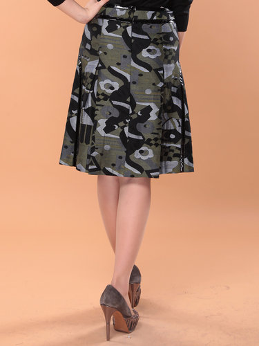 Dark Green Casual A-line Printed Midi Skirt