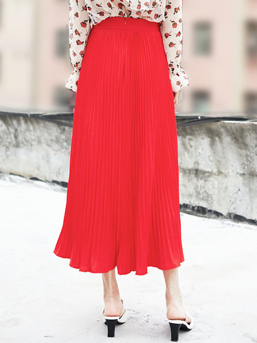 Red Casual A-line Pleated Midi Skirt