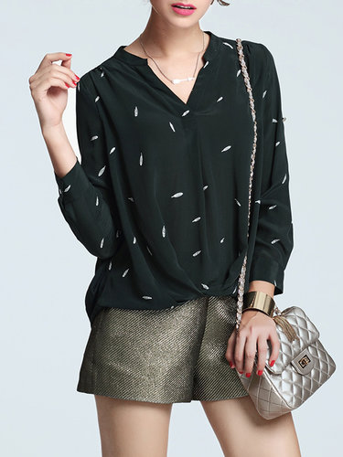 Dark Green V Neck Silk Printed Long Sleeve Blouse