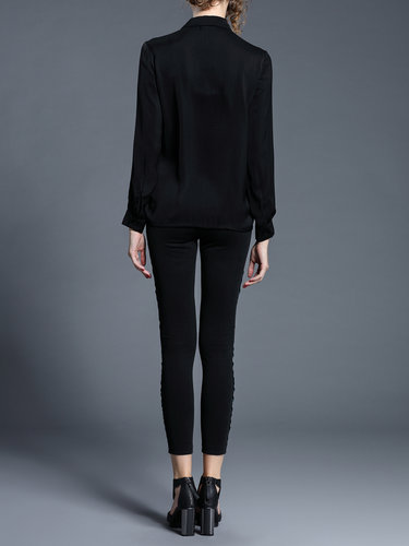 Black Casual V Neck Blouse