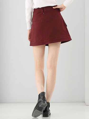 Red Solid Lace Up Casual A-line Mini Skirt