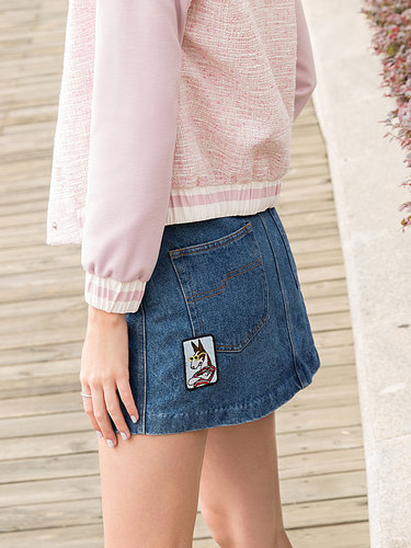 Blue Casual Pockets Cotton Mini Skirt