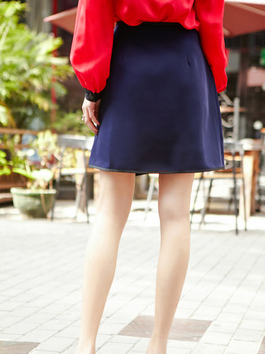 Statement Color-block Slit Mini Skirt