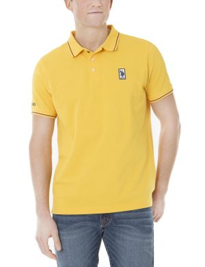U.S. Polo Assn. Patched Logo Tipped Polo Shirt Cape Yellow