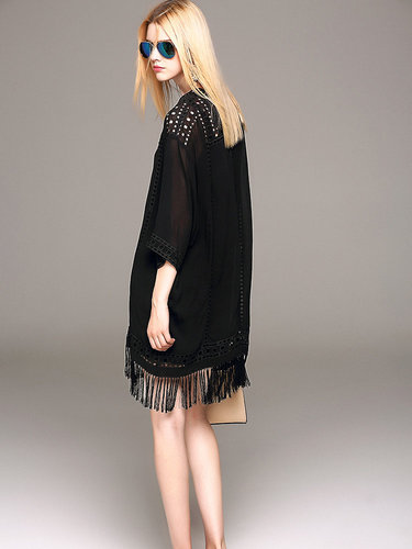 Black Fringed 3/4 Sleeve Crew Neck Mini Dress