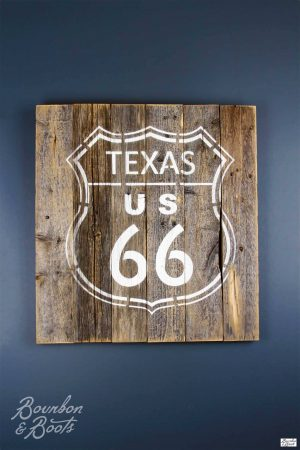 Texas US 66 Reclaimed Wooden Sign