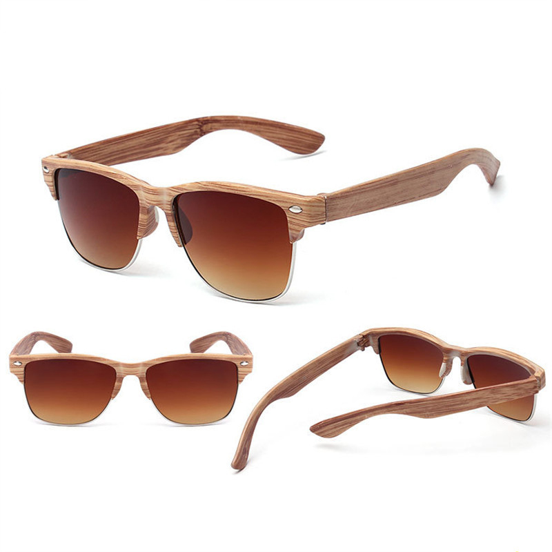 Classic wood grain glasses brand retro cat's eye