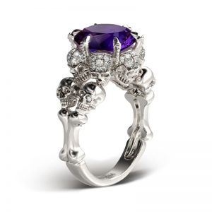 Jeulia Round Cut Created Amethyst  Four Skull Ring
