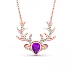 Jeulia Design Rose Gold Big Reindeer Horn Pear Cut Amethyst  Pendant Necklace