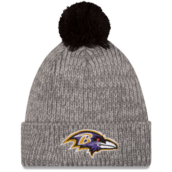 Baltimore Ravens New Era Start Cuff Knit Hat with Pom