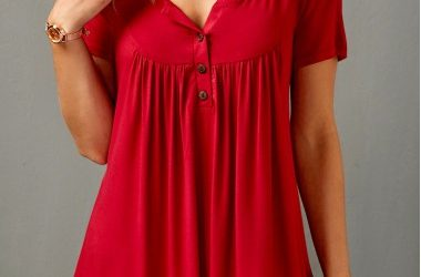 Short Sleeve Split Neck Red Curved Blouse