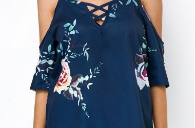 Strappy Cold Shoulder Printed Navy Blouse