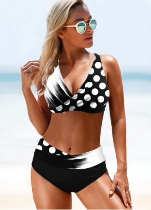 ROTITA Lace Up Polka Dot Bikini Set