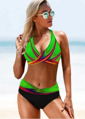 ROTITA Printed Halter Neck Green Bikini Set