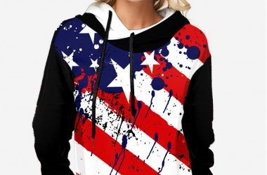 American Flag Print Hooded Collar Long Sleeve Tunic Top