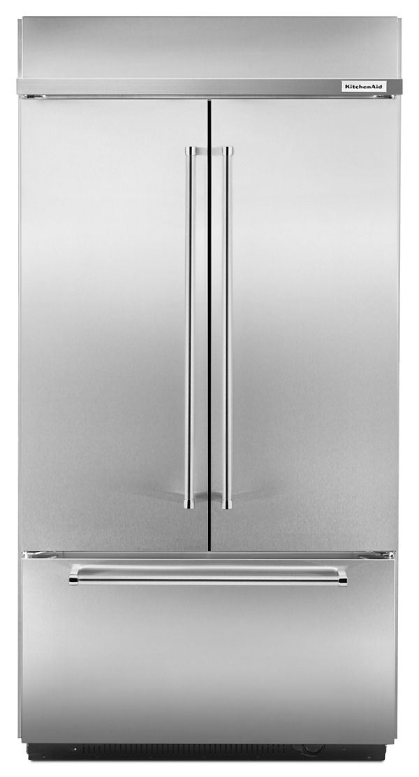 "KitchenAid® 24.2 Cu. Ft. 42"" Width Built-In Stainless French Door Refrigerator with Platinum Interior Design"