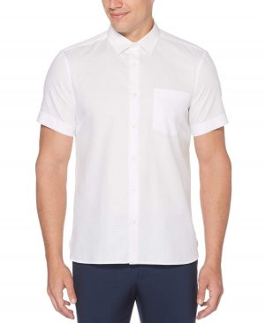 Perry Ellis Men's Dobby Shirt in Bright White