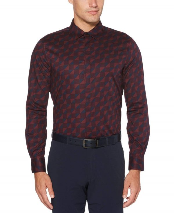 Perry Ellis Men's Geo Print Stretch Shirt
