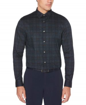 Perry Ellis Men's Geometric Check Cotton Shirt in Dark Sapphire/Blue