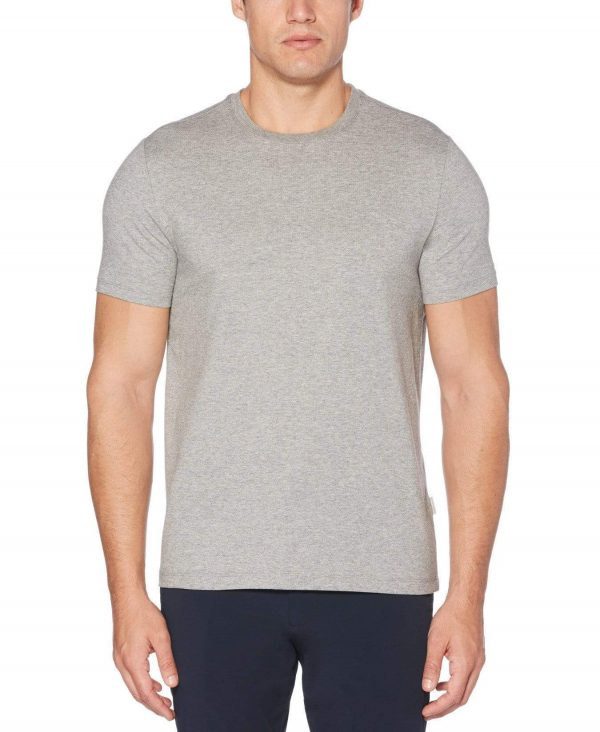 Perry Ellis Men's Pima Crew Neck T-Shirt in Alloy Heather/Gray