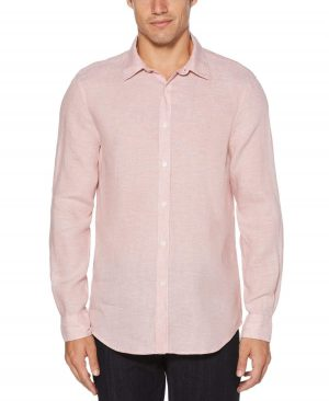 Perry Ellis Men's Roll Sleeve Linen Shirt in Himalayan Pink