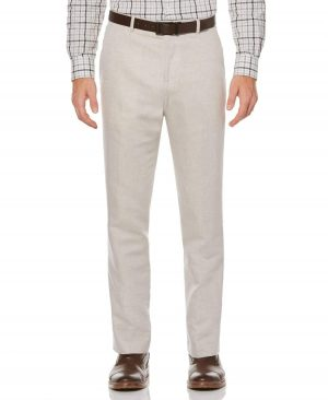 Perry Ellis Men's Big And Tall Linen Twill Suit Pant in Natural Linen/Beige